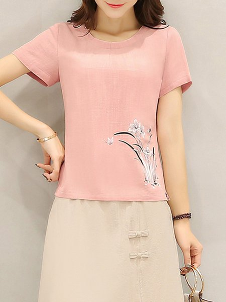 Pink Crew Neck Floral-print Casual Linen T-Shirt