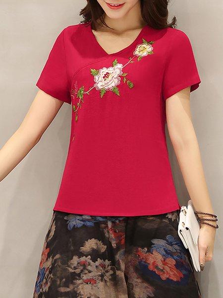 Short Sleeve Floral-print Crew Neck T-Shirt