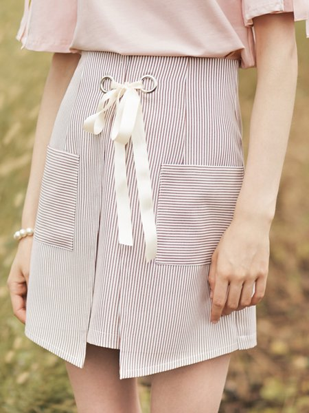 Bow Asymmetric Stripes A-line Girly Mini Skirt