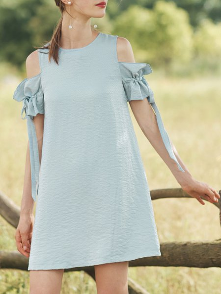 Cold Shoulder  Gathered Girly Mini Dress