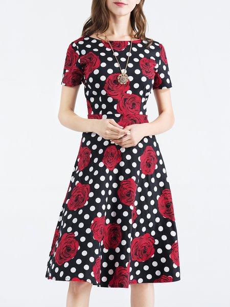 Burgundy Polka Dots Short Sleeve Crew Neck Floral-print Midi Dress