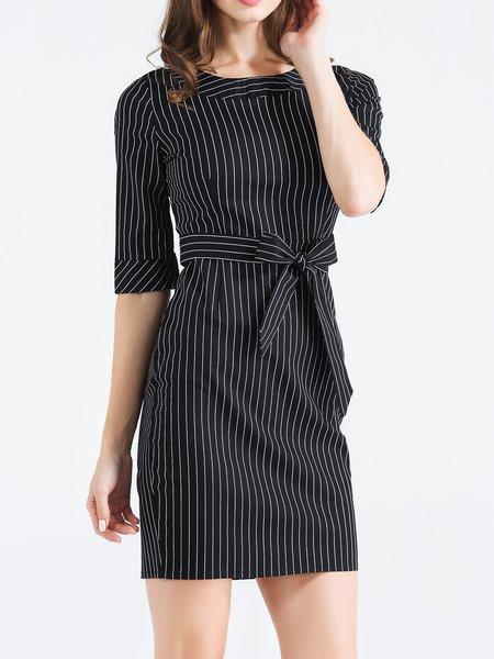 Black Bow Bodycon Half Sleeve Stripes Mini Dress