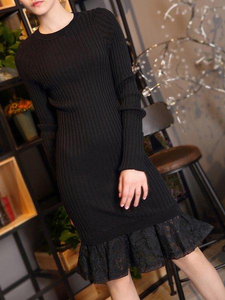Black Casual Flounce Midi Dress