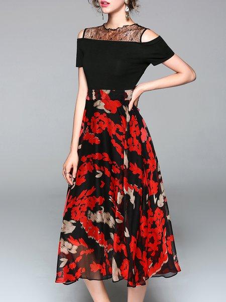Black-red Casual Printed Floral Midi Dress