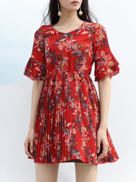 Floral Frill Sleeve A-line V Neck Casual Midi Dress