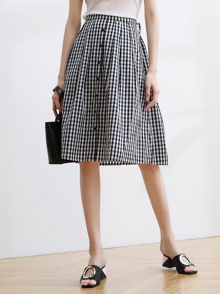 White-black A-line Girly Cotton Midi Skirt
