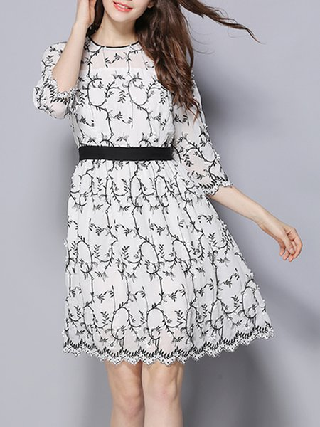3/4 Sleeve Crew Neck Polyester Floral-print Girly Mini Dress