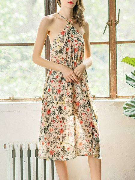 Multicolor Floral-print Sleeveless Halter Midi Dress
