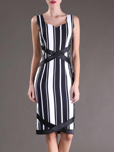 Black-white Printed Spaghetti V Neck Elegant Stripes Midi Dress