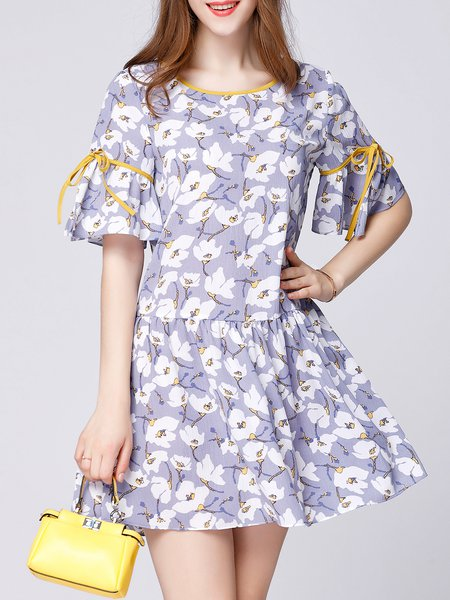 Frill Sleeve Casual Flounce Floral-print Mini Dress