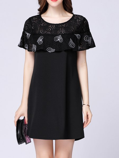 Black Paneled Casual Shift Mini Dress