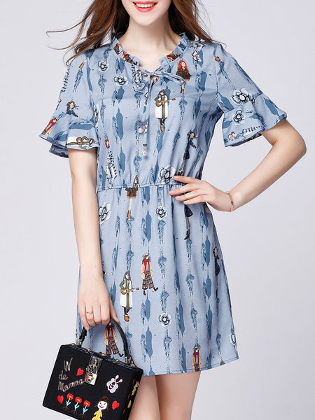 Blue A-line Casual Mini Dress