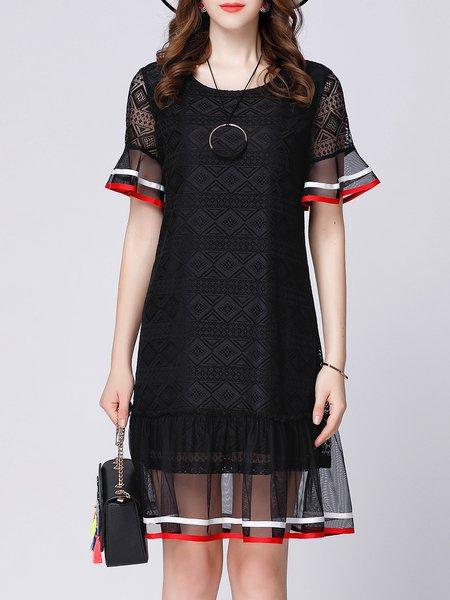 Black Frill Sleeve Paneled Midi Dress