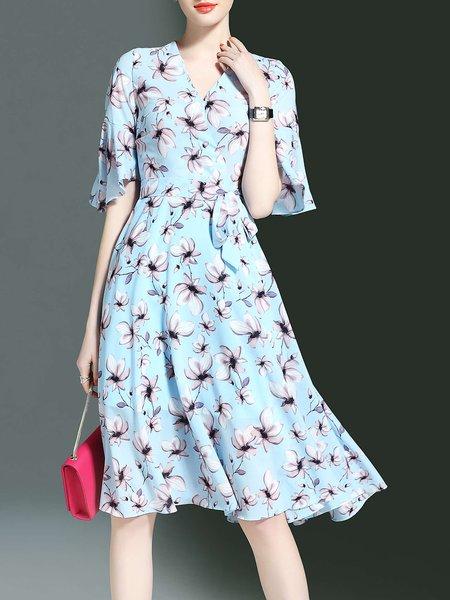 Floral-print V Neck Casual Frill Sleeve Midi Dress