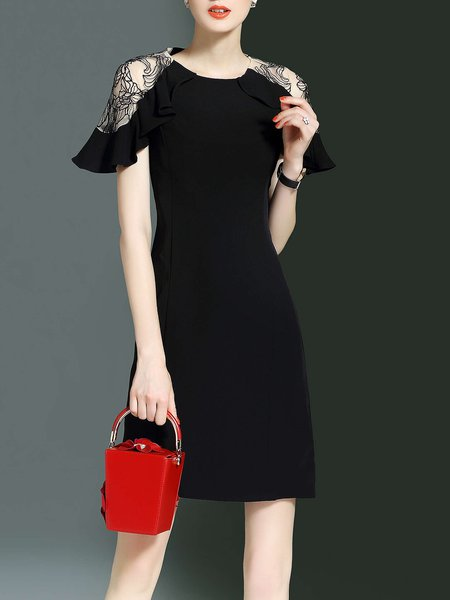 Frill Sleeve Elegant Bodycon Solid Ruffled Mini Dress