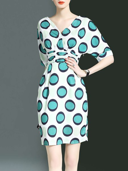 Blue Printed Short Sleeve V Neck Polka Dots Sheath Midi Dress