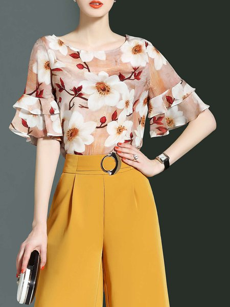 Multicolor Crew Neck Frill Sleeve Floral-print Tops