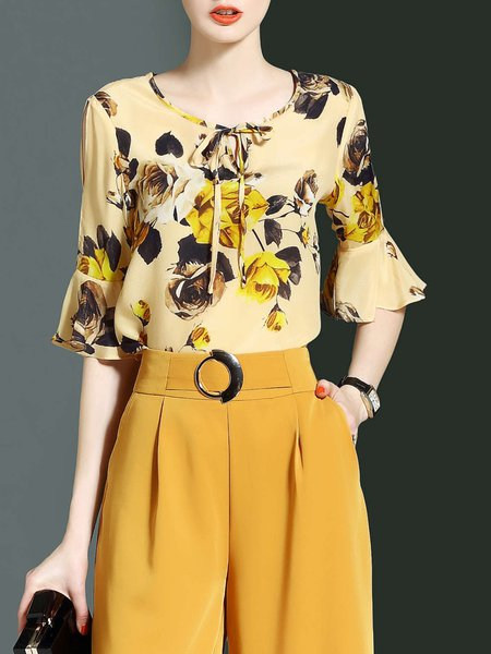 Multicolor H-line Keyhole Frill Sleeve Floral-print Blouse