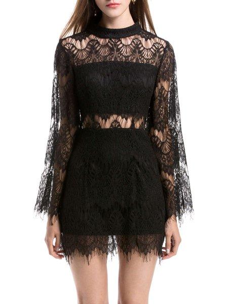 Black Guipure Sexy Bodycon Lace Mini Dress
