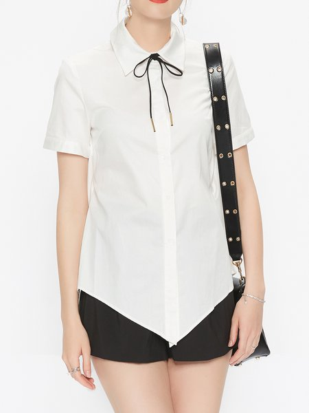 Shirt Collar Solid Casual Short Sleeve Blouse