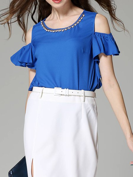 Ruffled Cold Shoulder Casual Tops