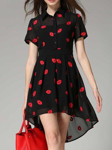 Black High Low Casual Polyester Shirt Collar Midi Dress