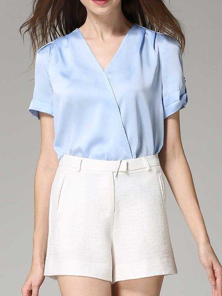 Light Blue Polyester Short Sleeve V Neck Blouse