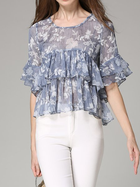 Folds Casual Floral Crew Neck Bell Sleeve Tops