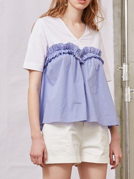 Blue Short Sleeve V Neck Short Sleeved Top