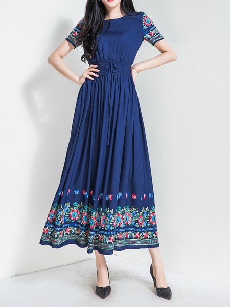 Navy Blue Bateau/boat Neck Embroidered 3/4 Sleeve Holiday Dress