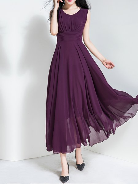 Purple Solid Crew Neck Layered Scalloped Short Sleeve Midi Dress