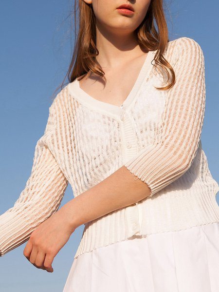 3/4 Sleeve Solid Ribbed Basic Cardigan