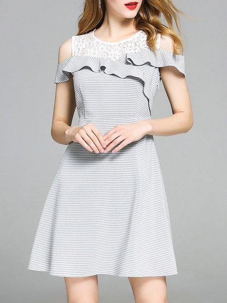 Gray Gingham Cold Shoulder A-line Mini Dress