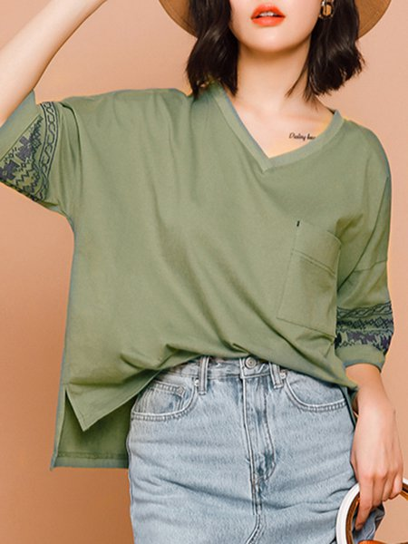 High Low Cotton Pockets 3/4 Sleeve Embroidered Casual Tribal V Neck Blouse