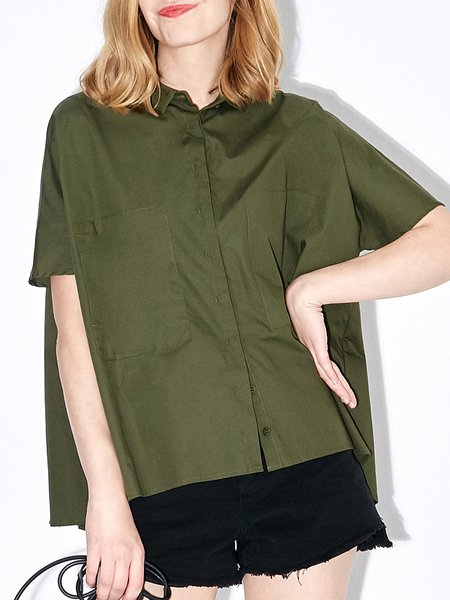 Shorts Sleeve Simple Cotton Buttoned Solid Blouse