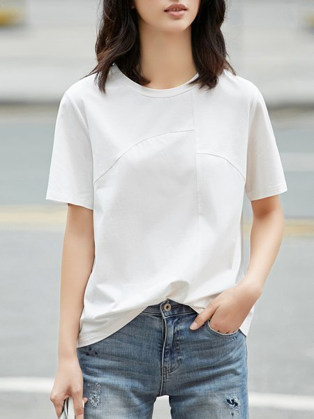 Solid Short Sleeve Basic Cotton-blend Paneled T-Shirt
