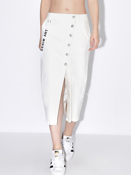 White Solid Simple Cotton-blend Midi Skirt