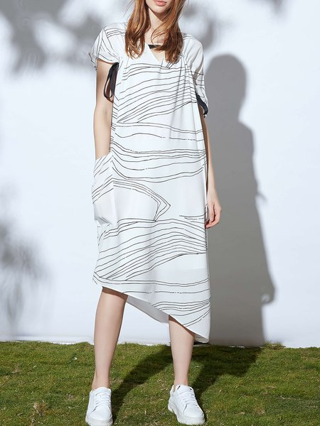 Casual Batwing Keyhole A-line Abstract Printed Midi Dress