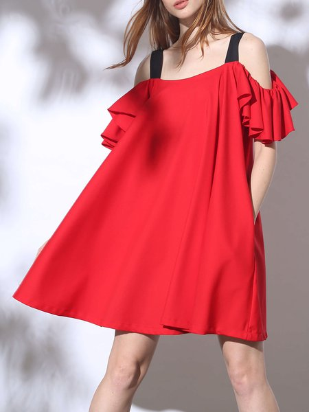 Red Sexy Ruffled Spaghetti Midi Dress