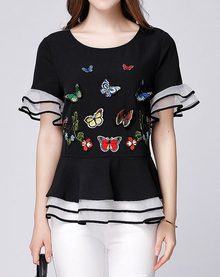 Black Short Sleeve Appliqued Butterfly Crew Neck Top