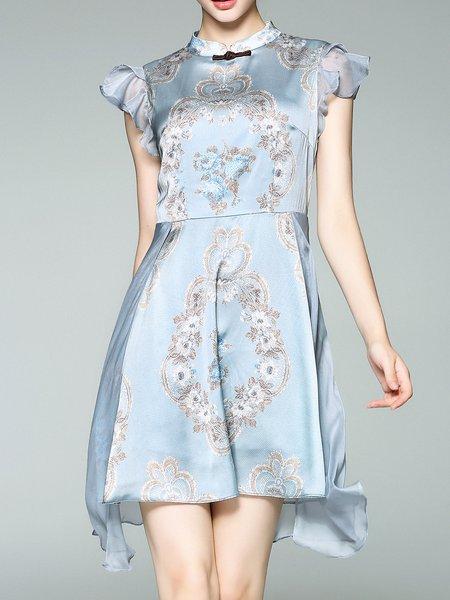 Light Blue Elegant Stand Collar Asymmetrical Midi Dress
