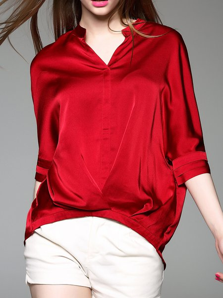 Red Shirt Collar Casual Solid Blouse