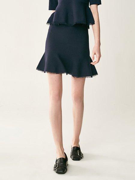 Navy Blue Casual Flounce Solid Mini Skirt