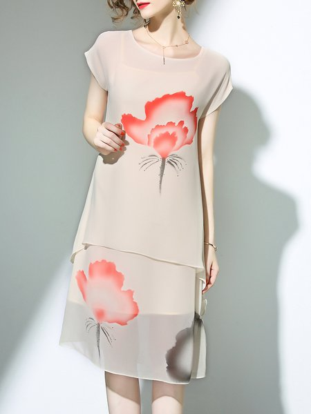 Beige Crew Neck A-line Floral-print Short Sleeve Midi Dress With Camis