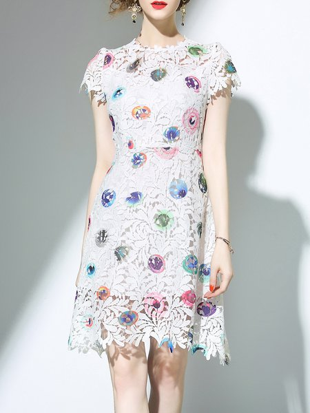 White Crew Neck Girly Printed Guipure Lace Midi Dress