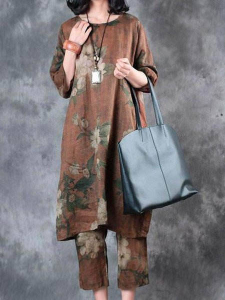Coffee Cocoon Casual Floral-print Crew Neck Linen Dress