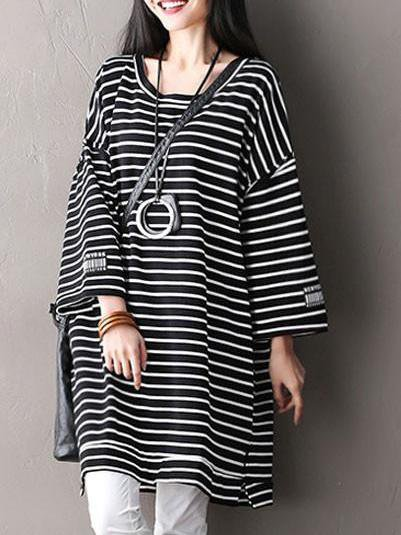 Cotton Stripes 3/4 Sleeve Casual Linen Dress