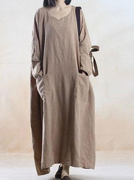 Khaki Batwing Pockets Linen Dress