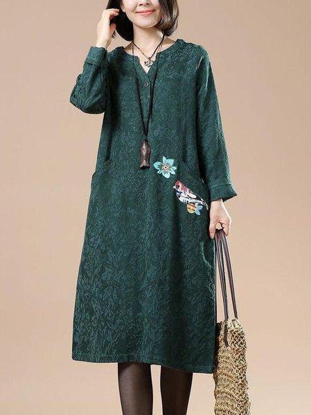 Green V Neck Long Sleeve Linen Dress