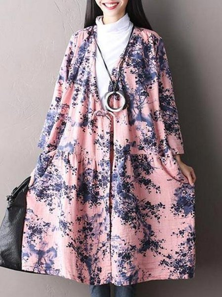 Pink Long Sleeve Floral Casual Cotton Linen Dress